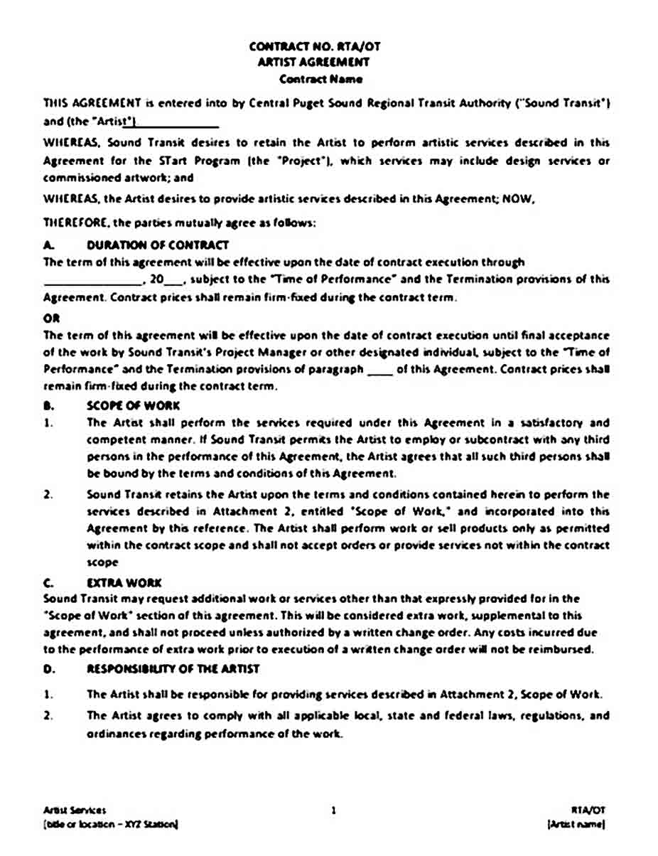 Artist Contract Agreement