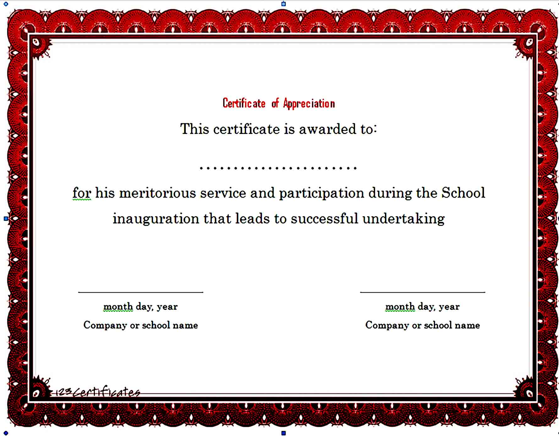 Certificate of Appreciation 01