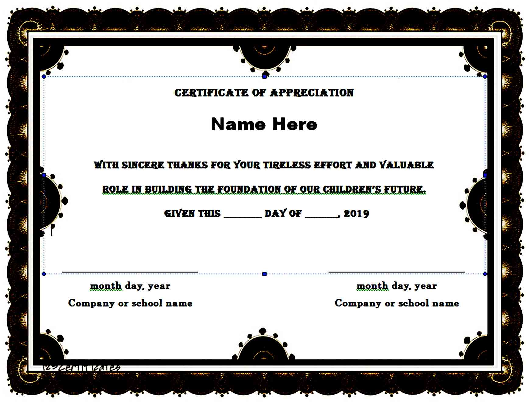 Certificate of Appreciation 03