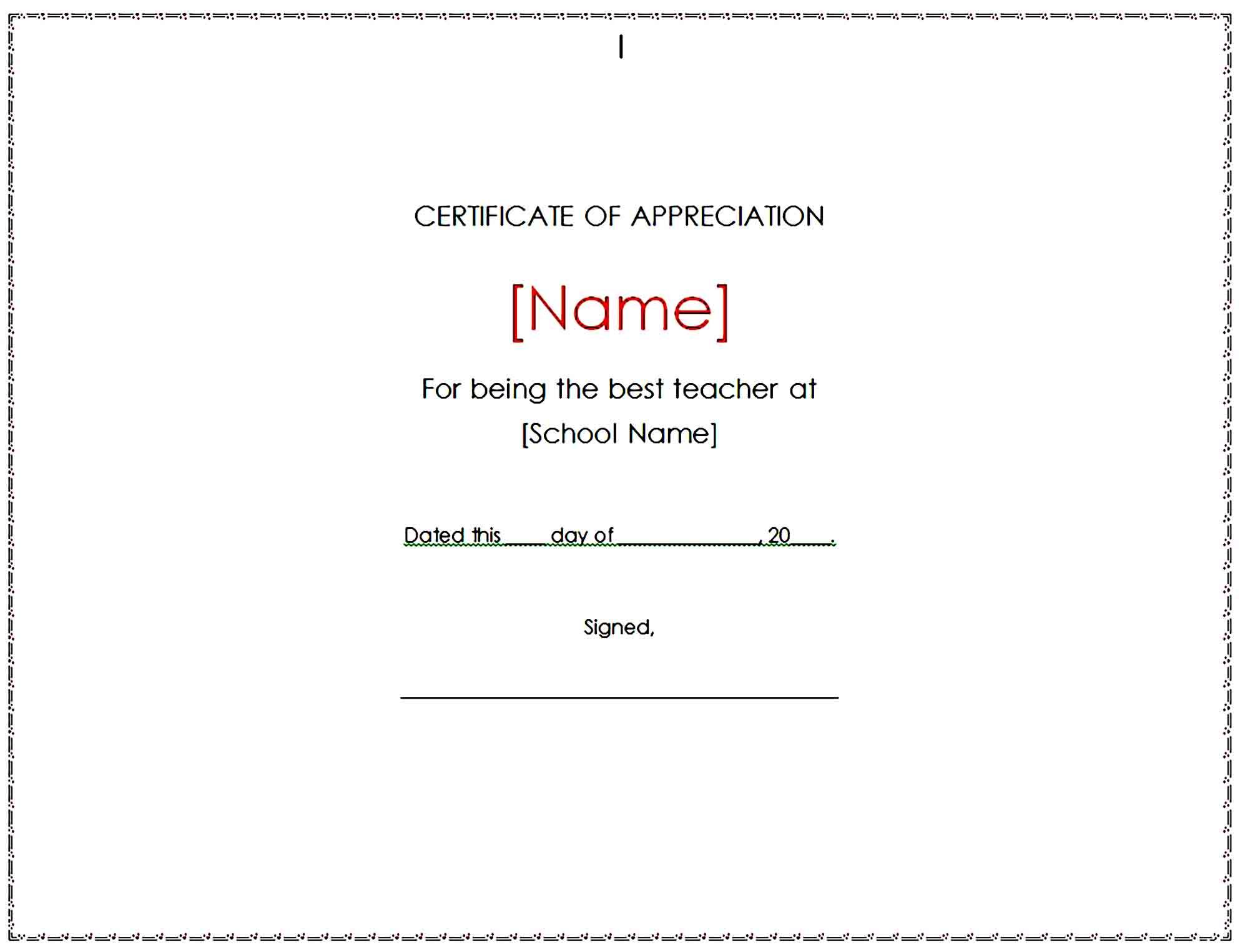 Certificate of Appreciation 09