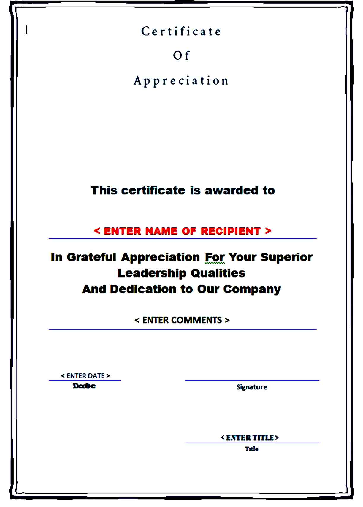 Certificate of Appreciation 12