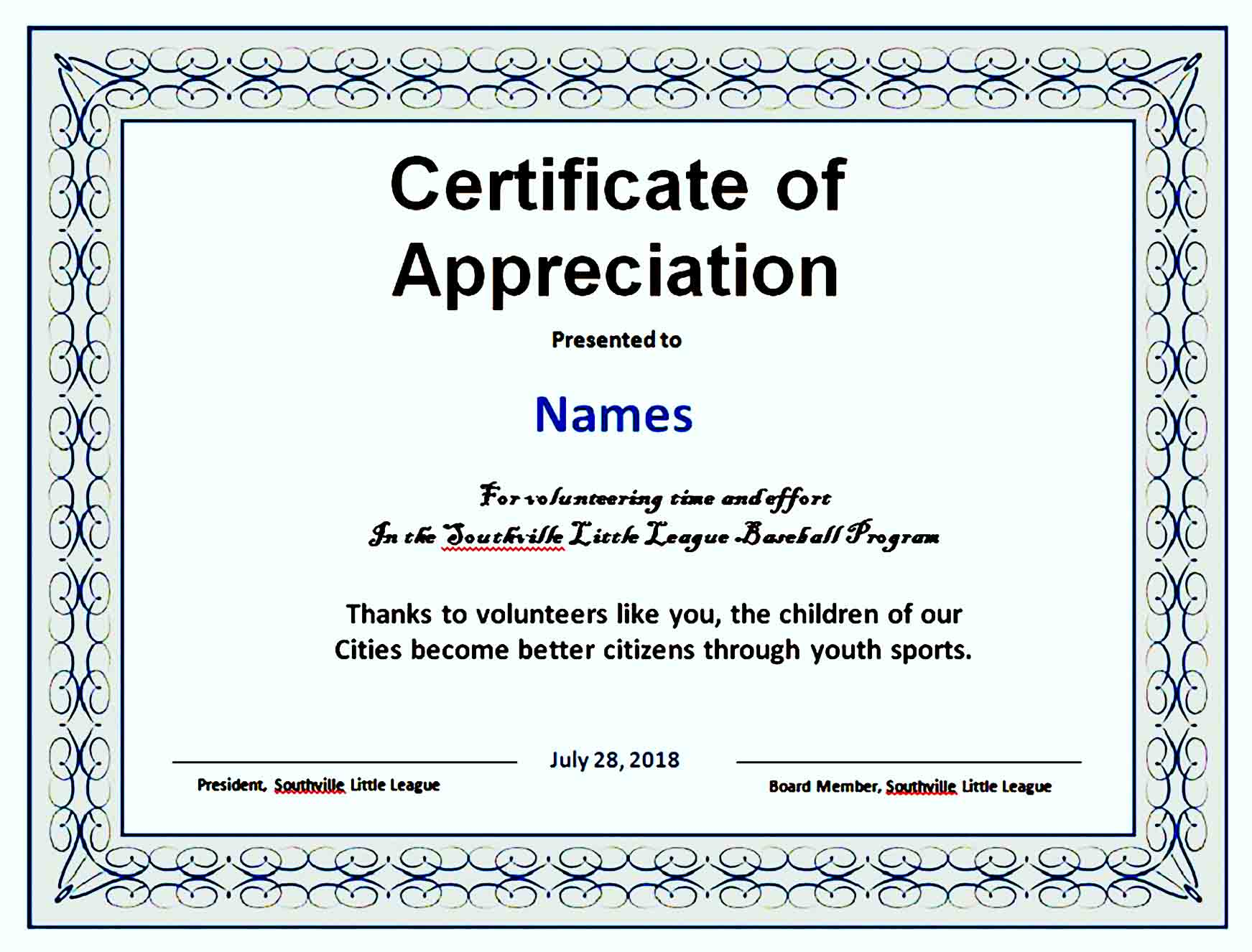 Certificate of Appreciation 13