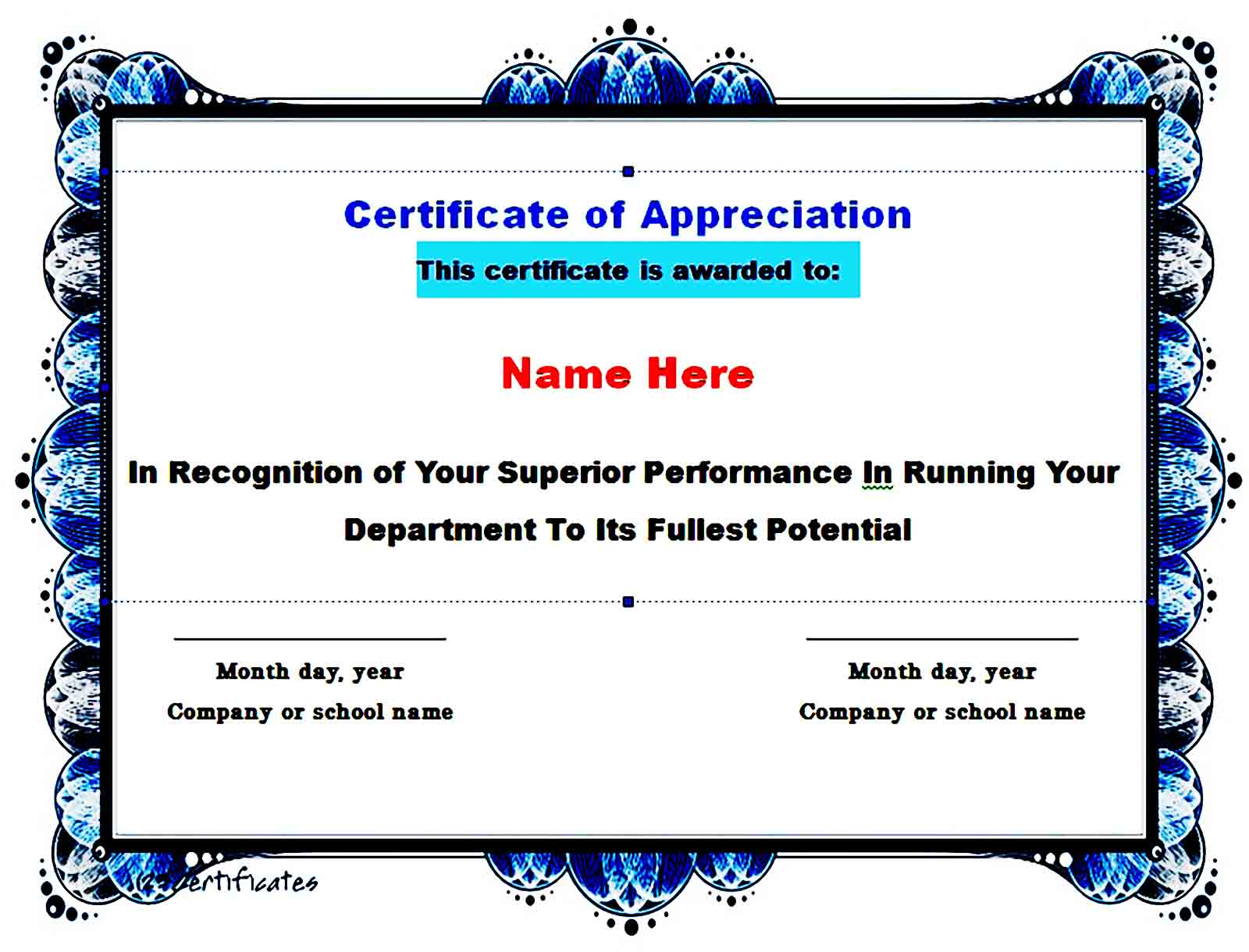 Certificate of Appreciation 15