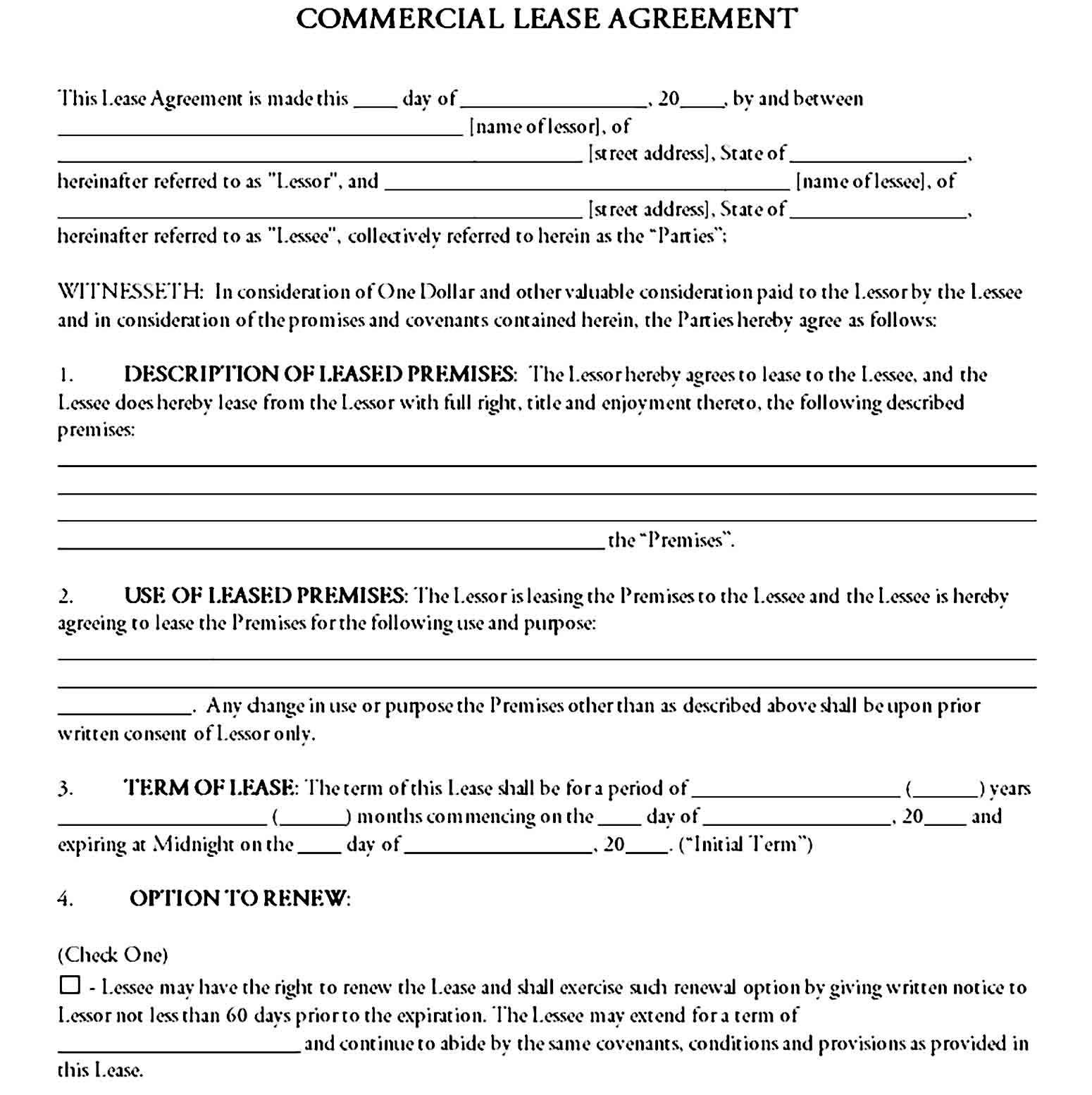 Commercial Lease Agreement Template 08