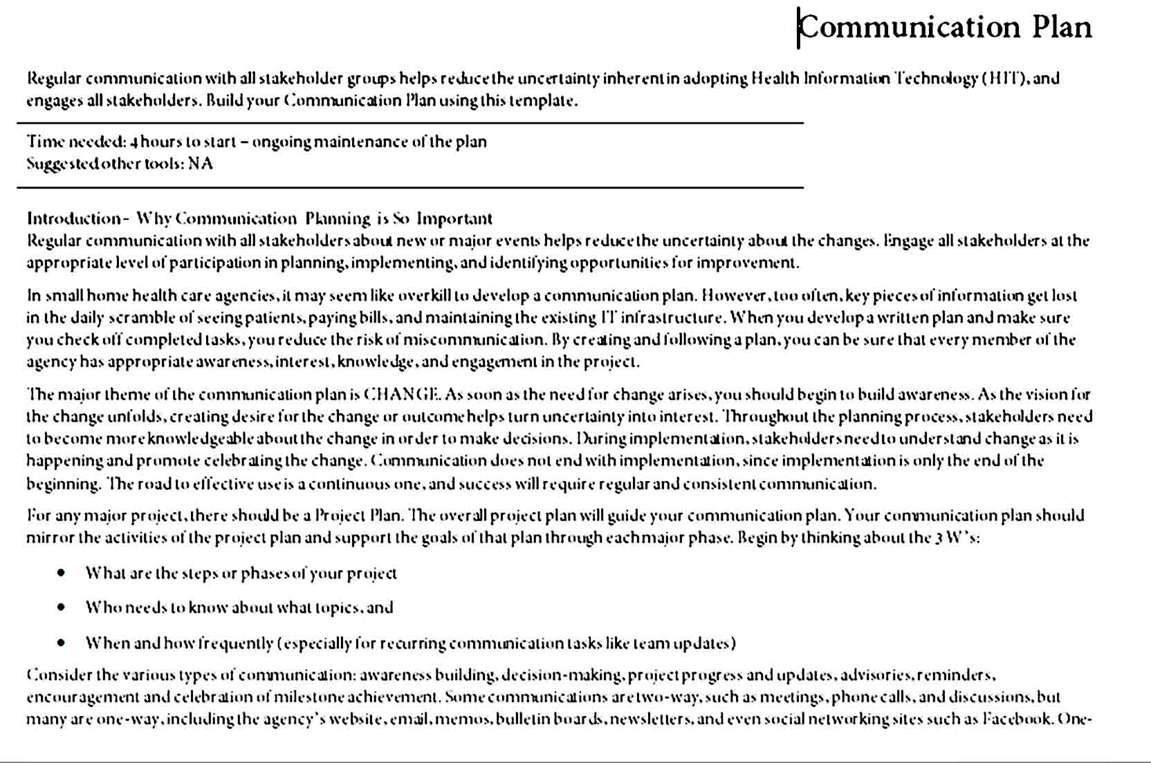 Communication Plan Template 02