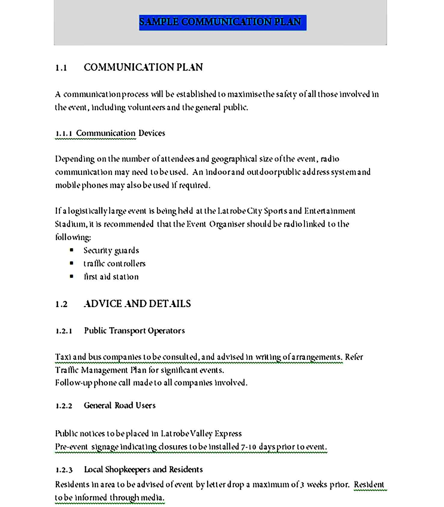Communication Plan Template 09