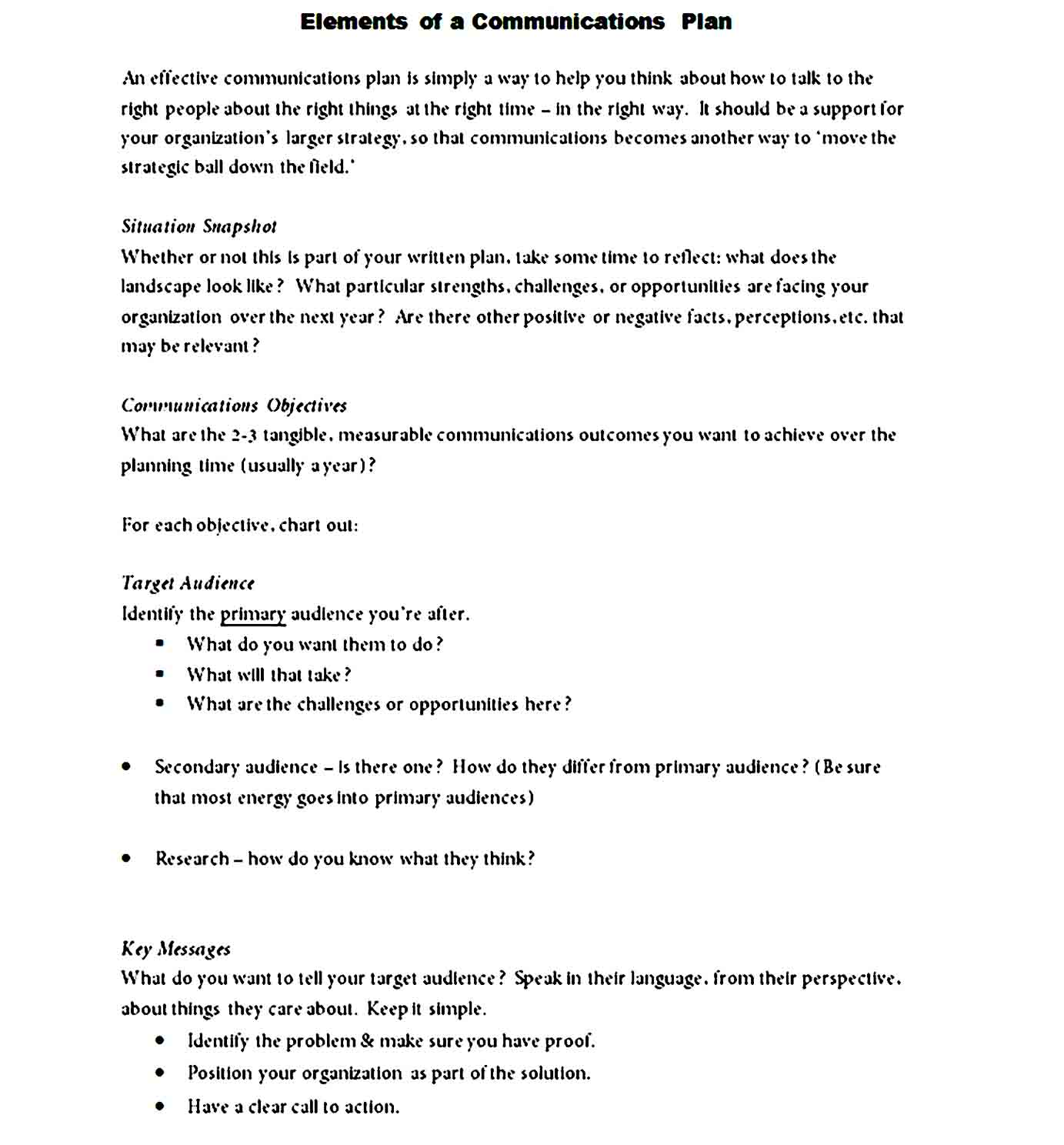Communication Plan Template 17