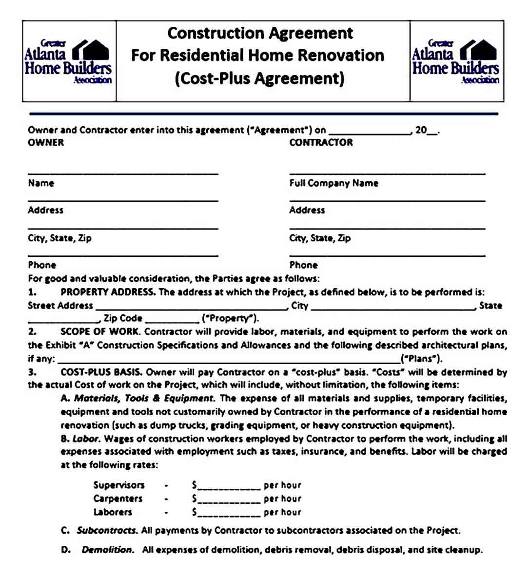 Construction Agreement For Residential