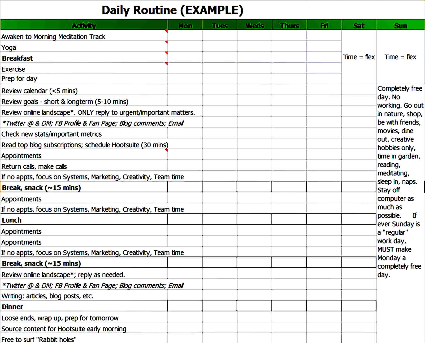 Daily Schedule Template 06