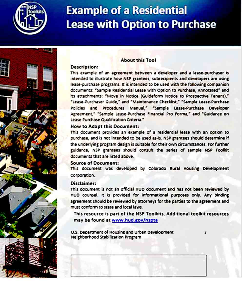 Home Lease Purchase Agreement in