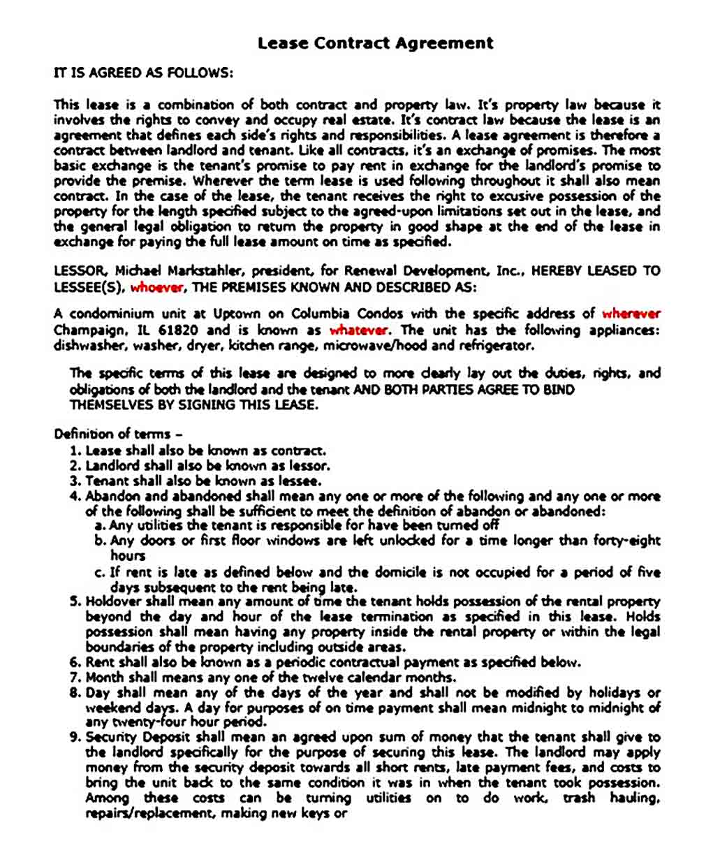 Lease Contract Agreement