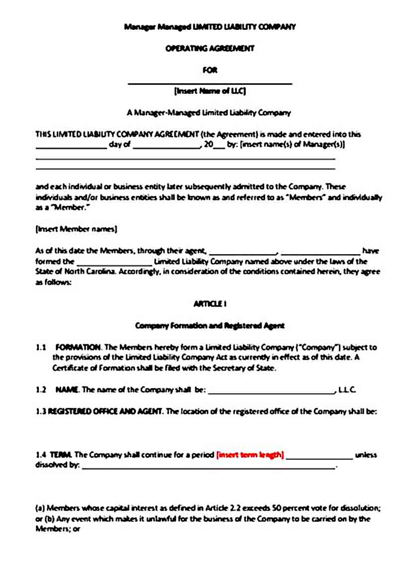 Manager Managed LLC Operating Agreement templates