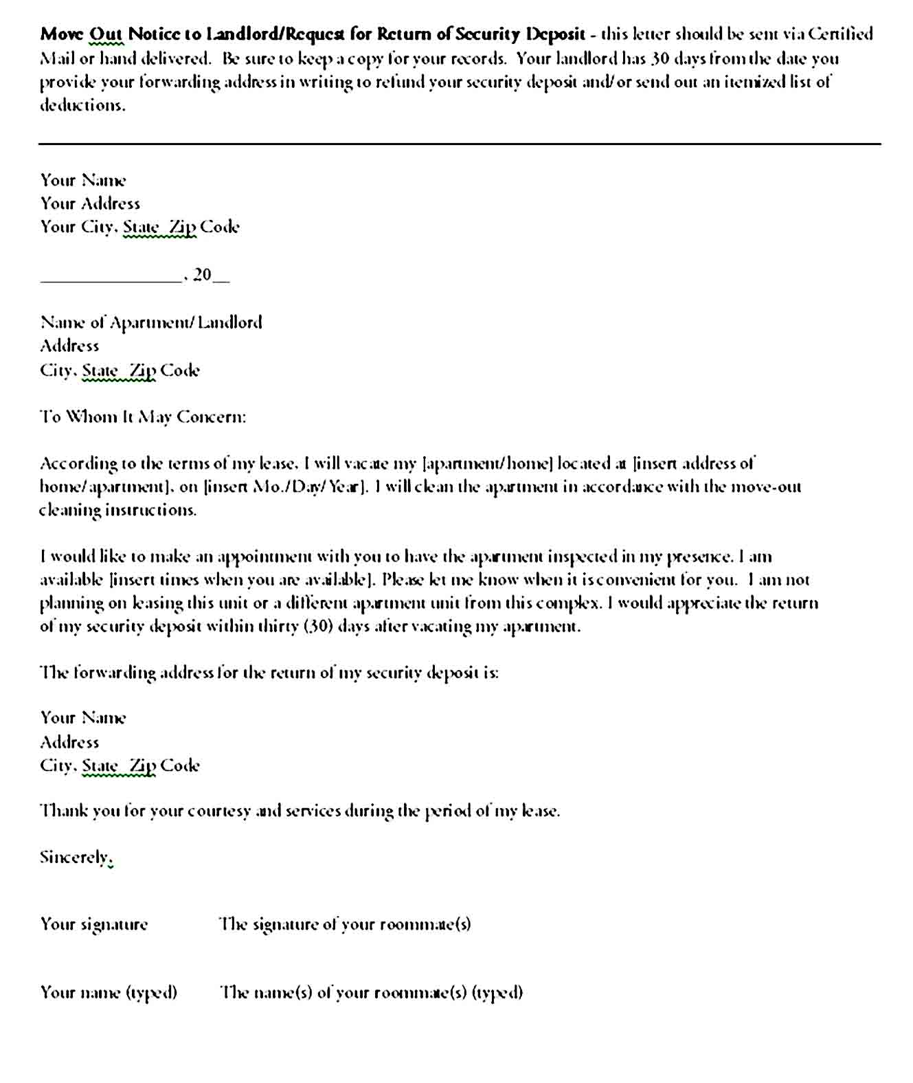 Move Out Notice to Landlord