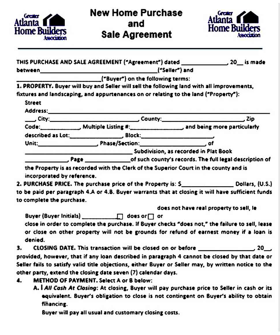New Home Purchase and Sale Agreement Example