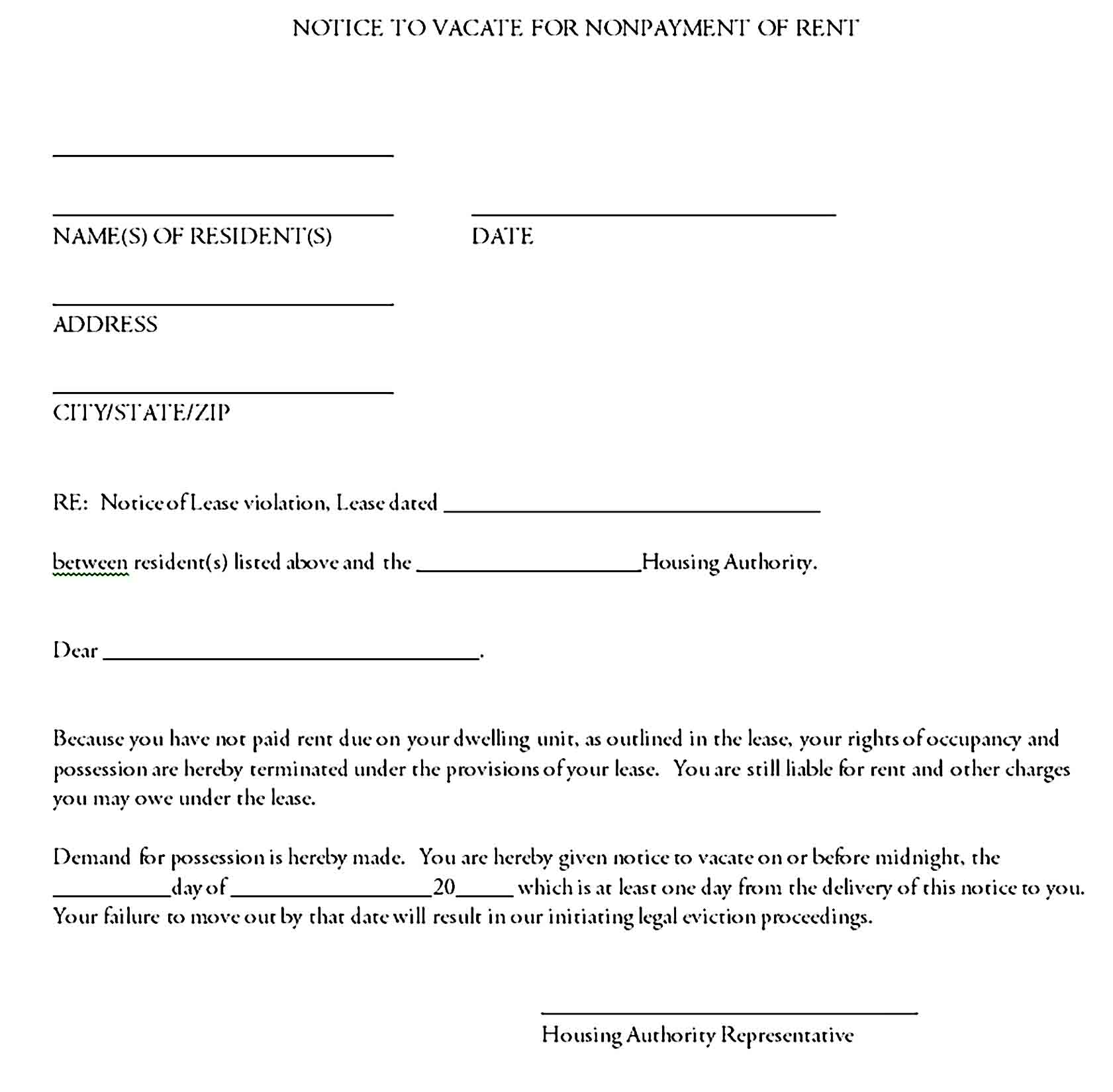 Notice to vacate for nonpayment of rent