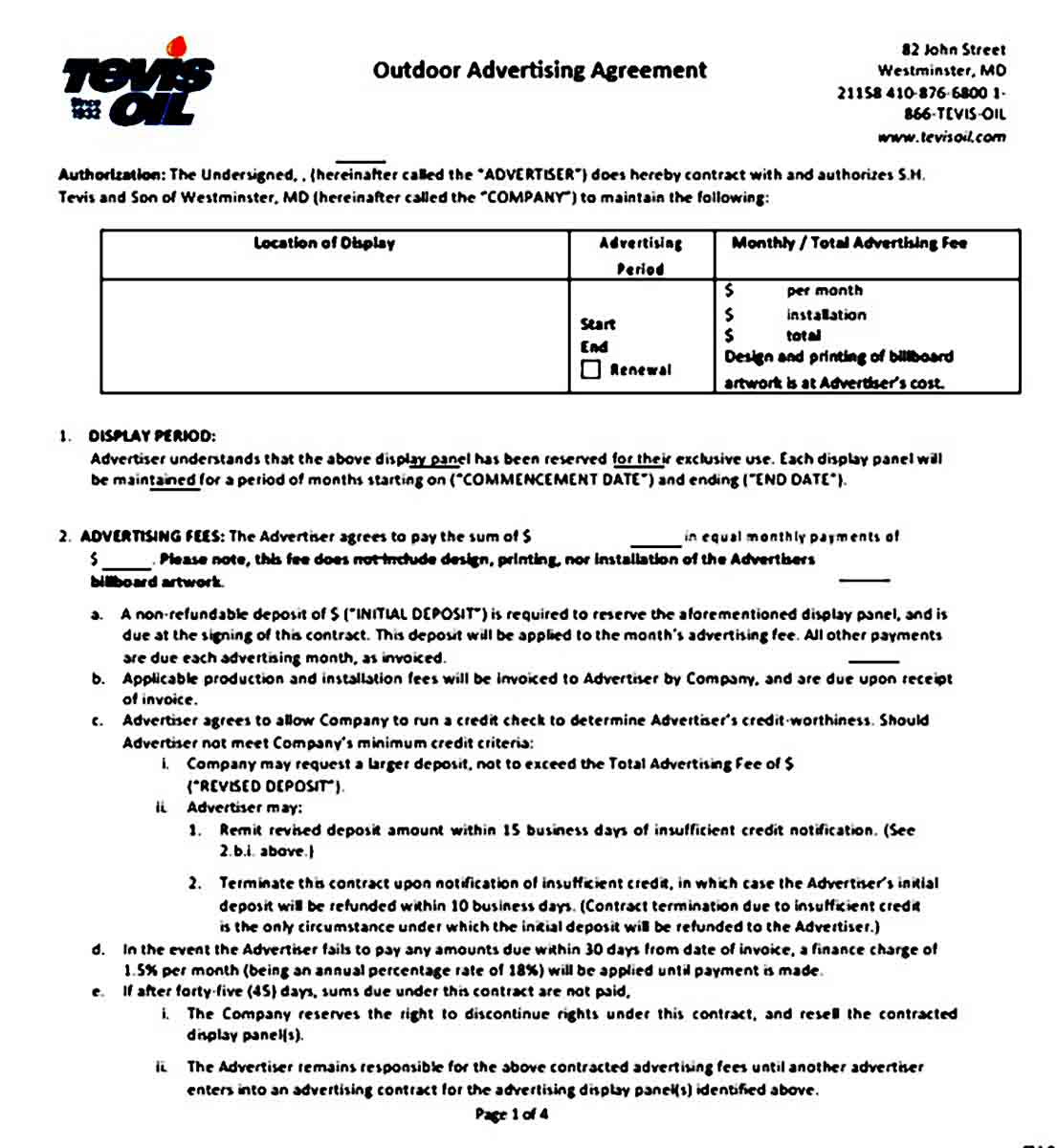 Outdoor Advertising Contract Agreement