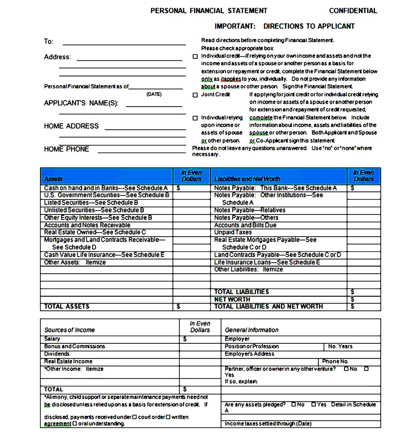 Personal Financial Statement Template 09