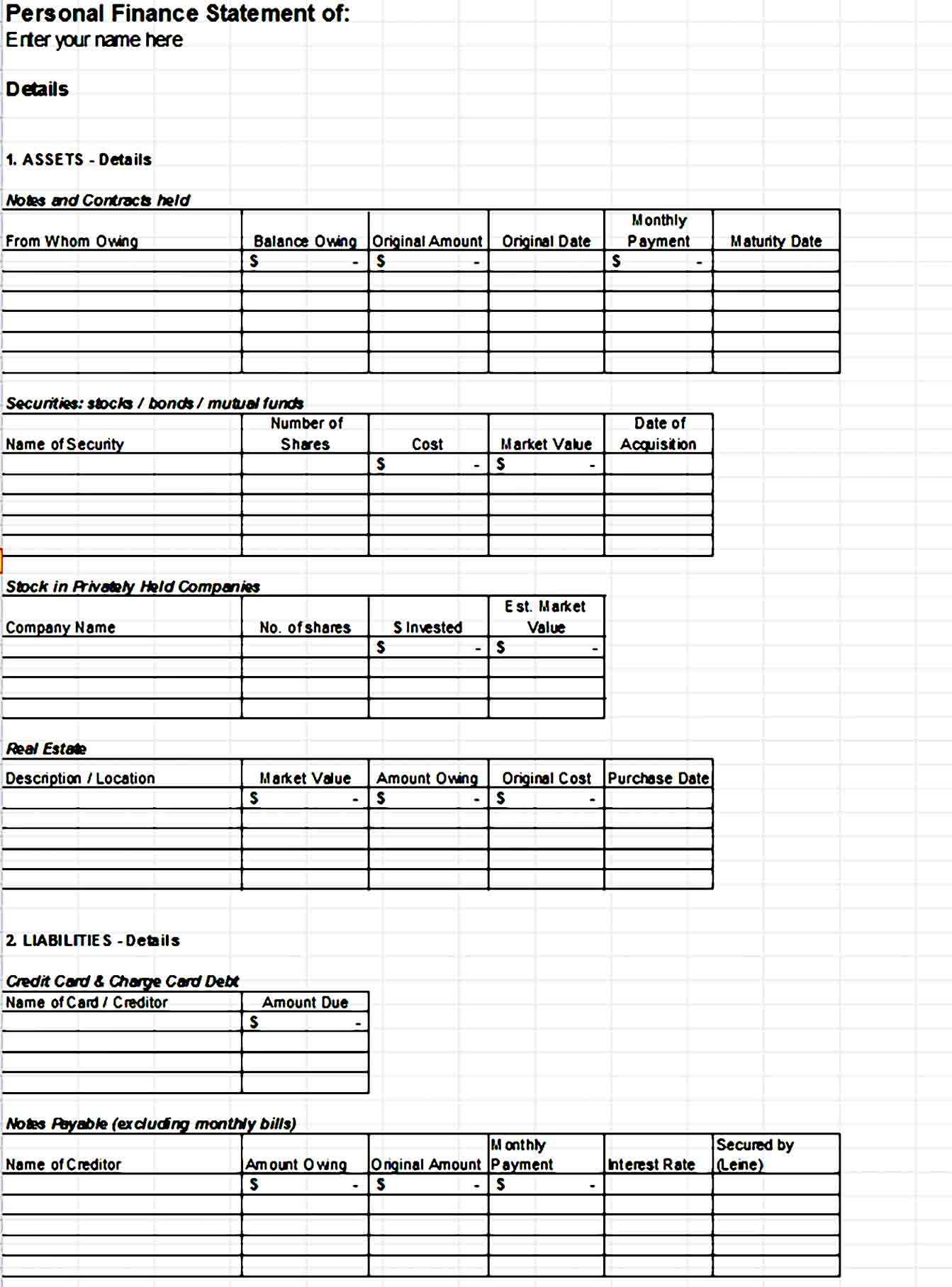 Personal Financial Statement Template 23