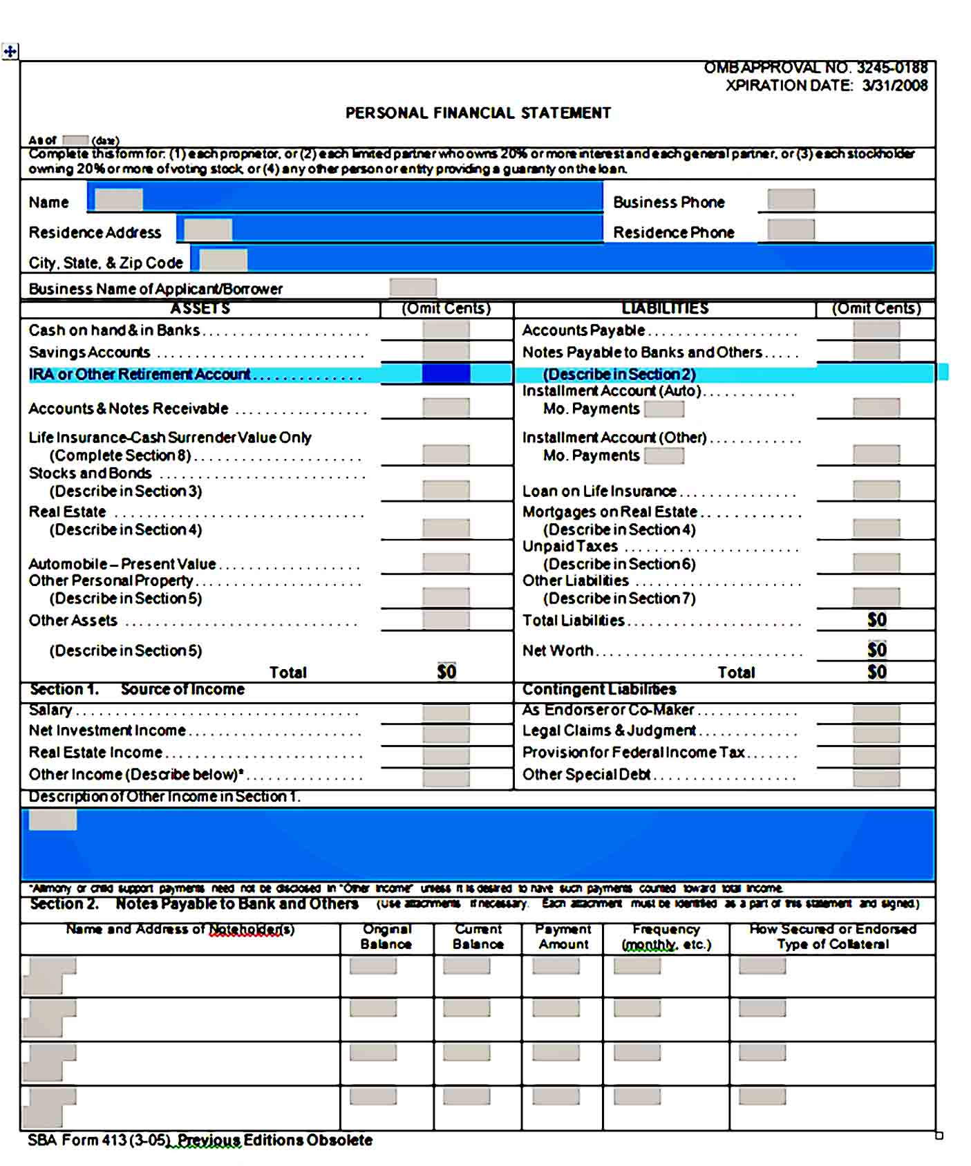 Personal Financial Statement Template 26