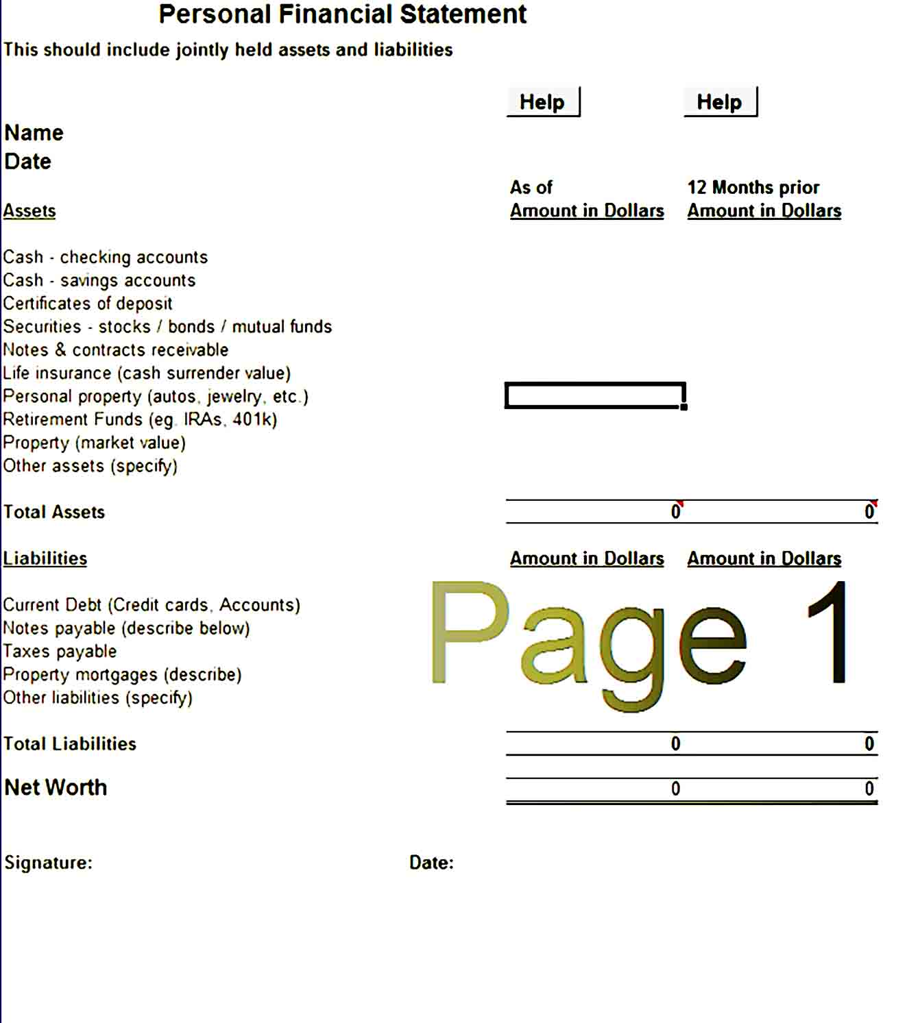 Personal Financial Statement Template 33