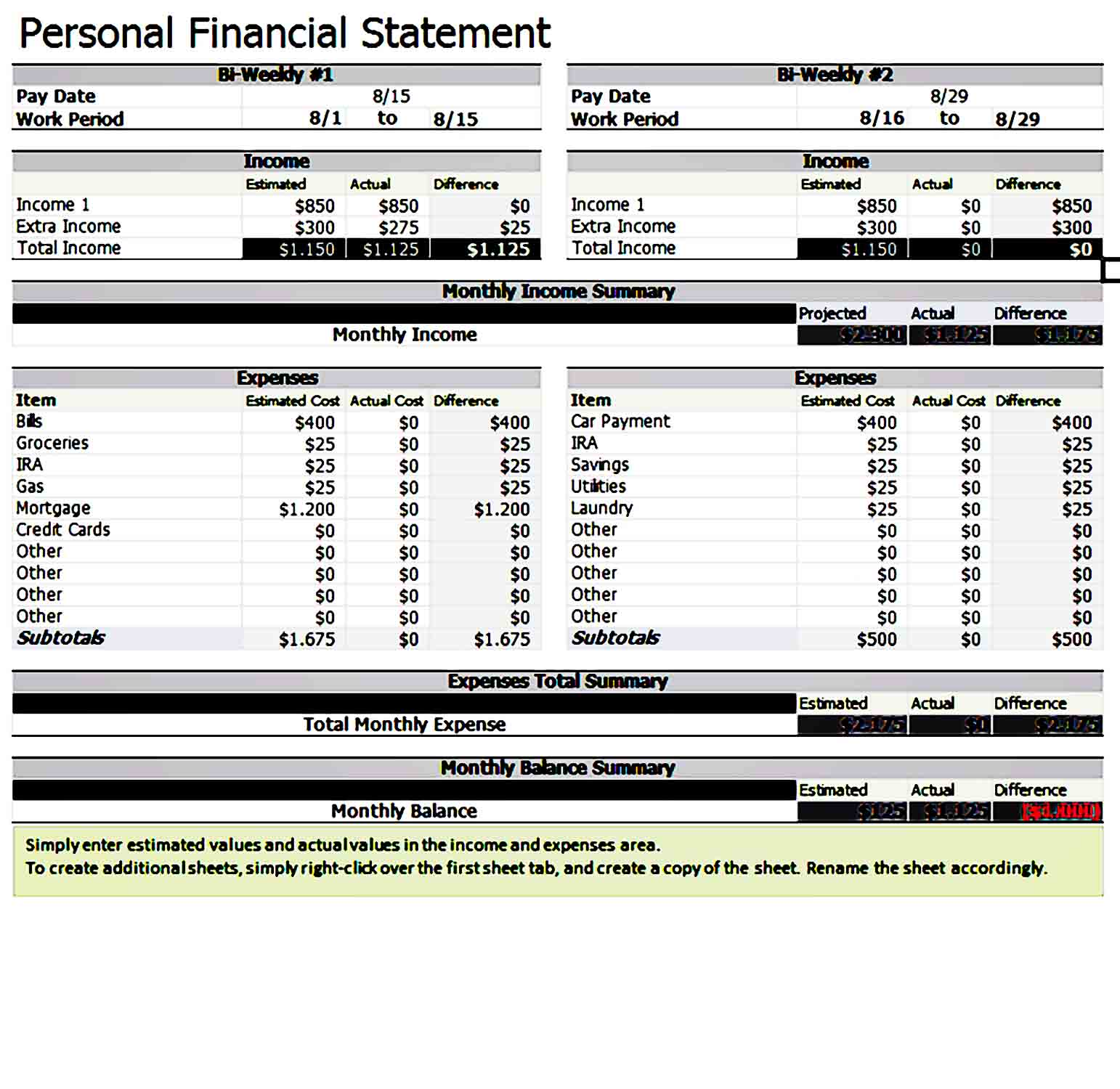 Personal Financial Statement Template 34