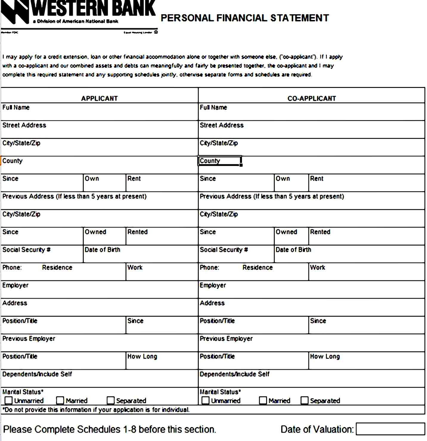 Personal Financial Statement Template 44