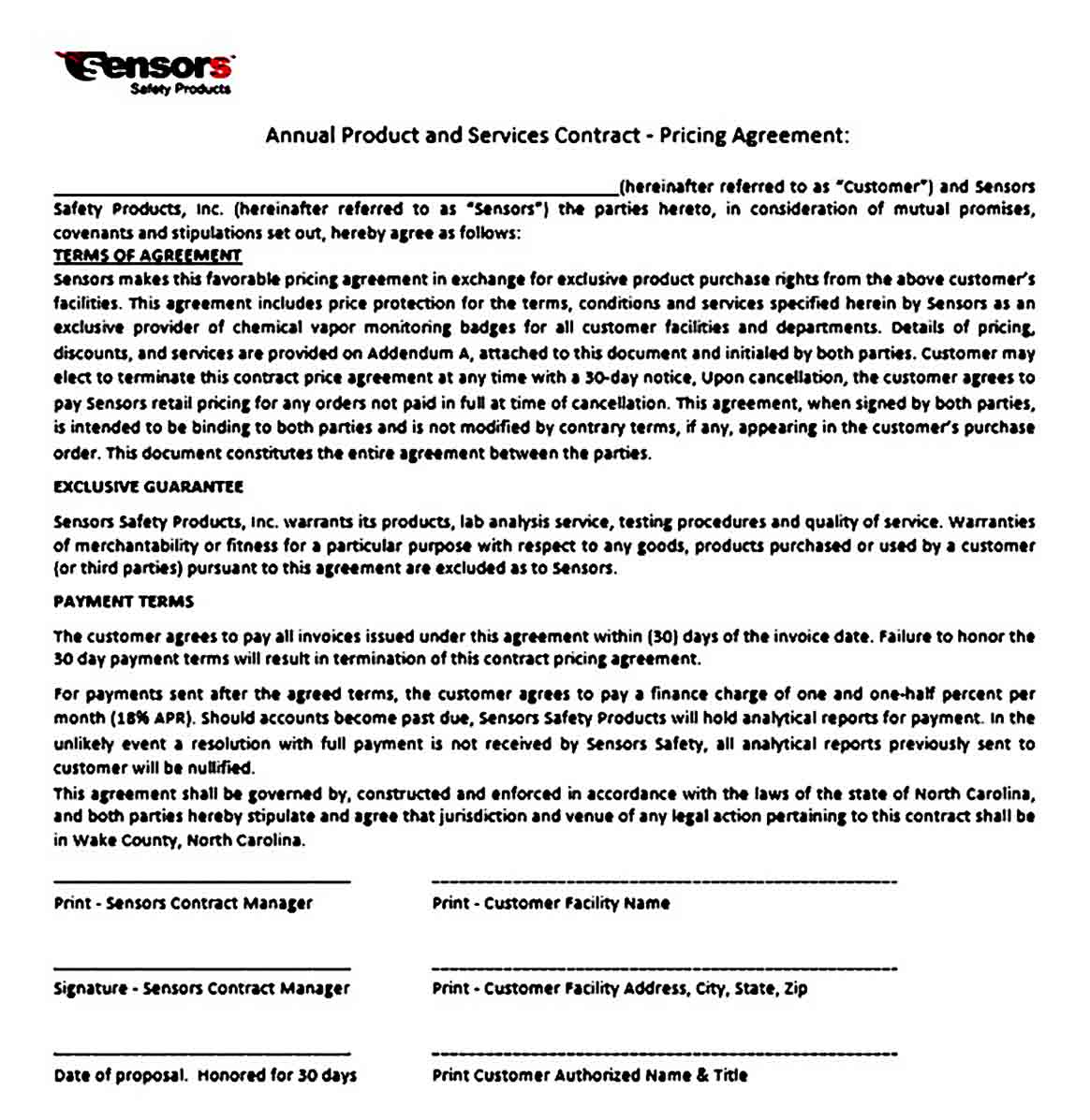 Product Services Contract