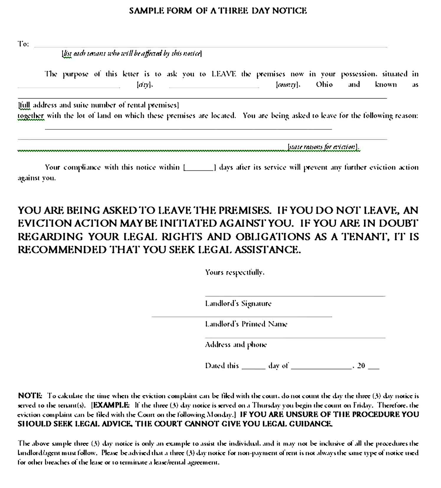 Sample form of a three day notice