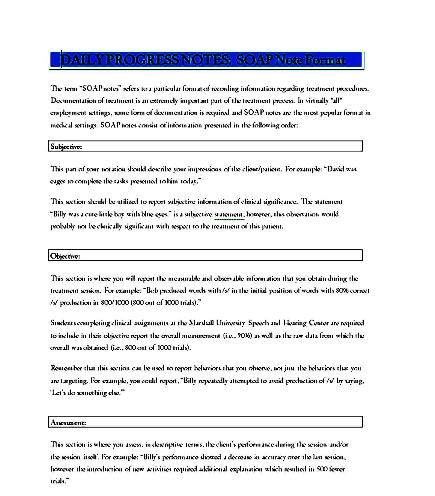 Soap Note Template 11