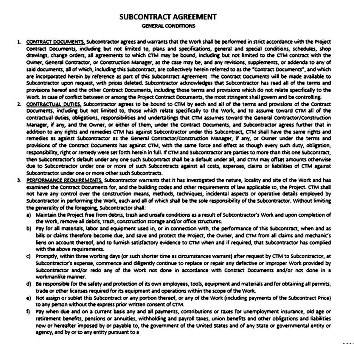 Standard Subcontract Agreement