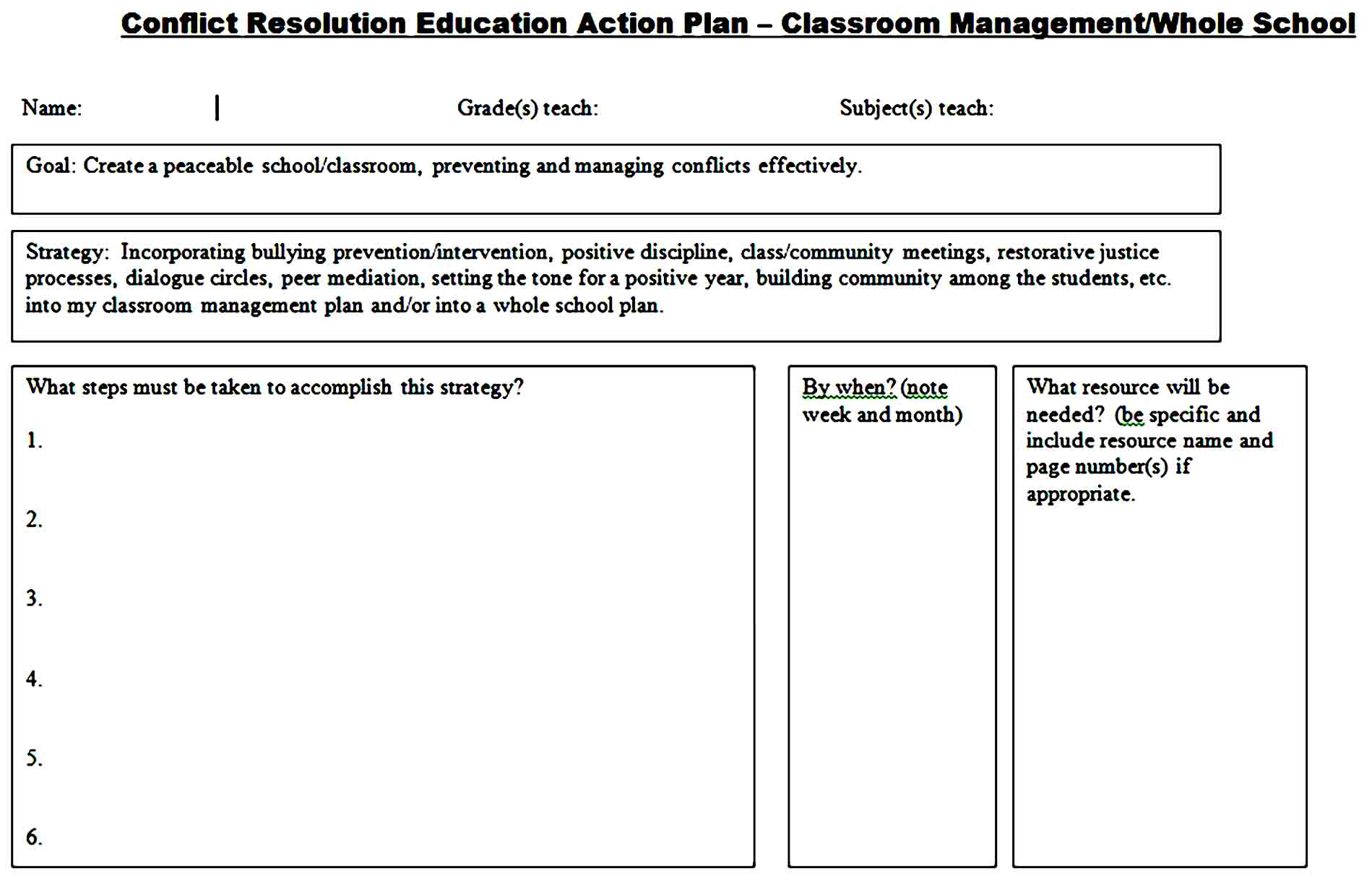 classroom management plan 12