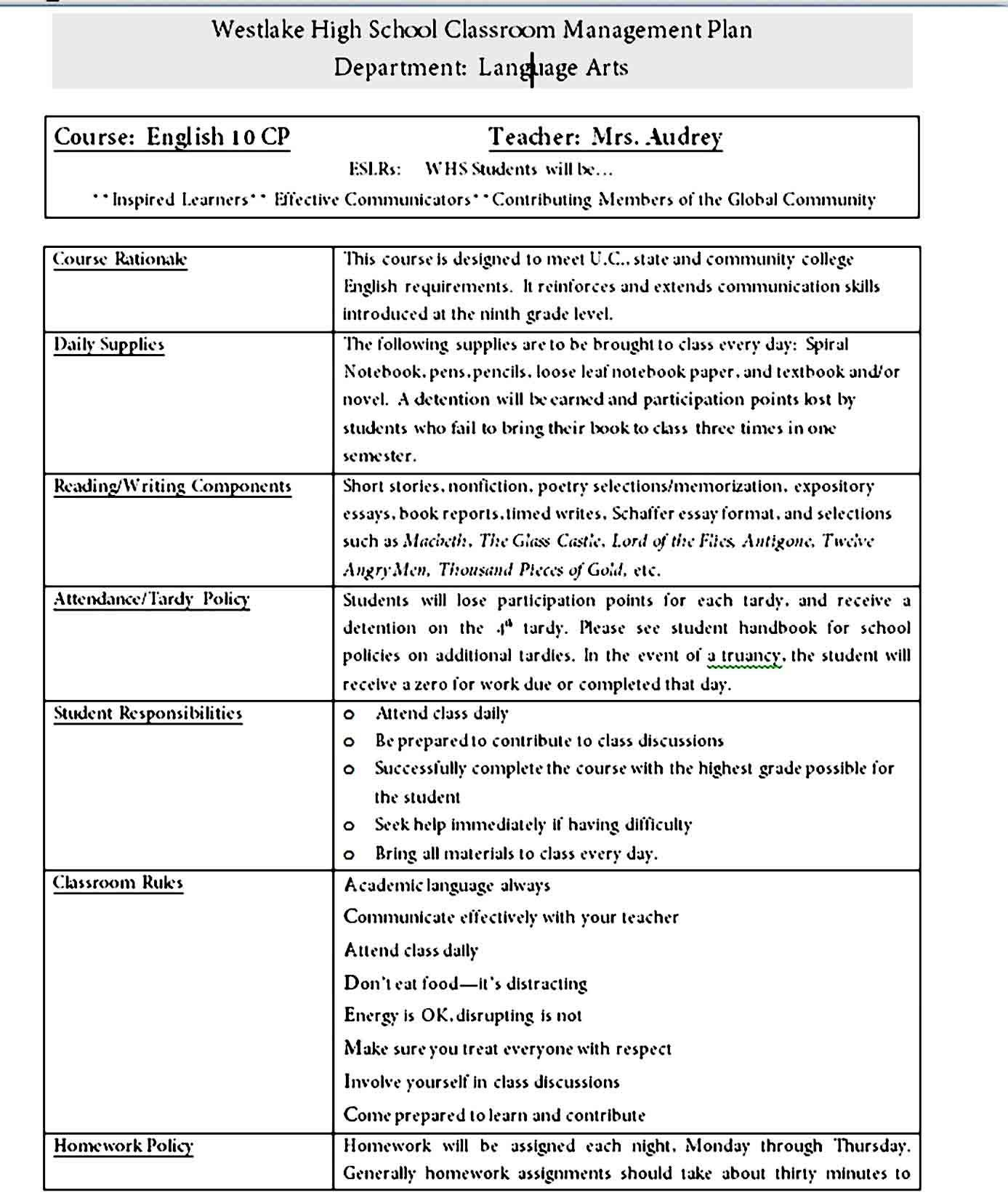 classroom management plan 18