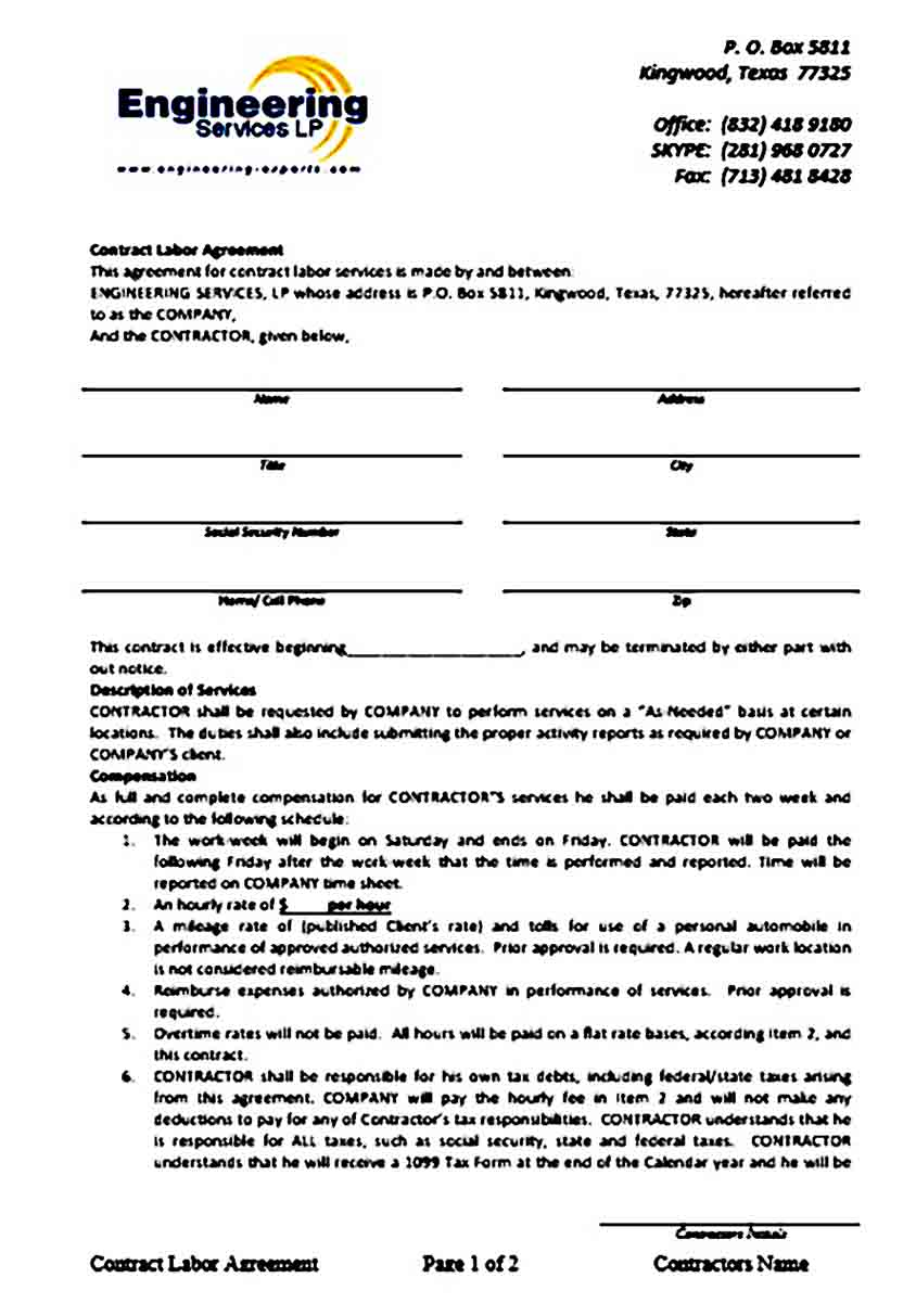 contract labor agreement word templates 1