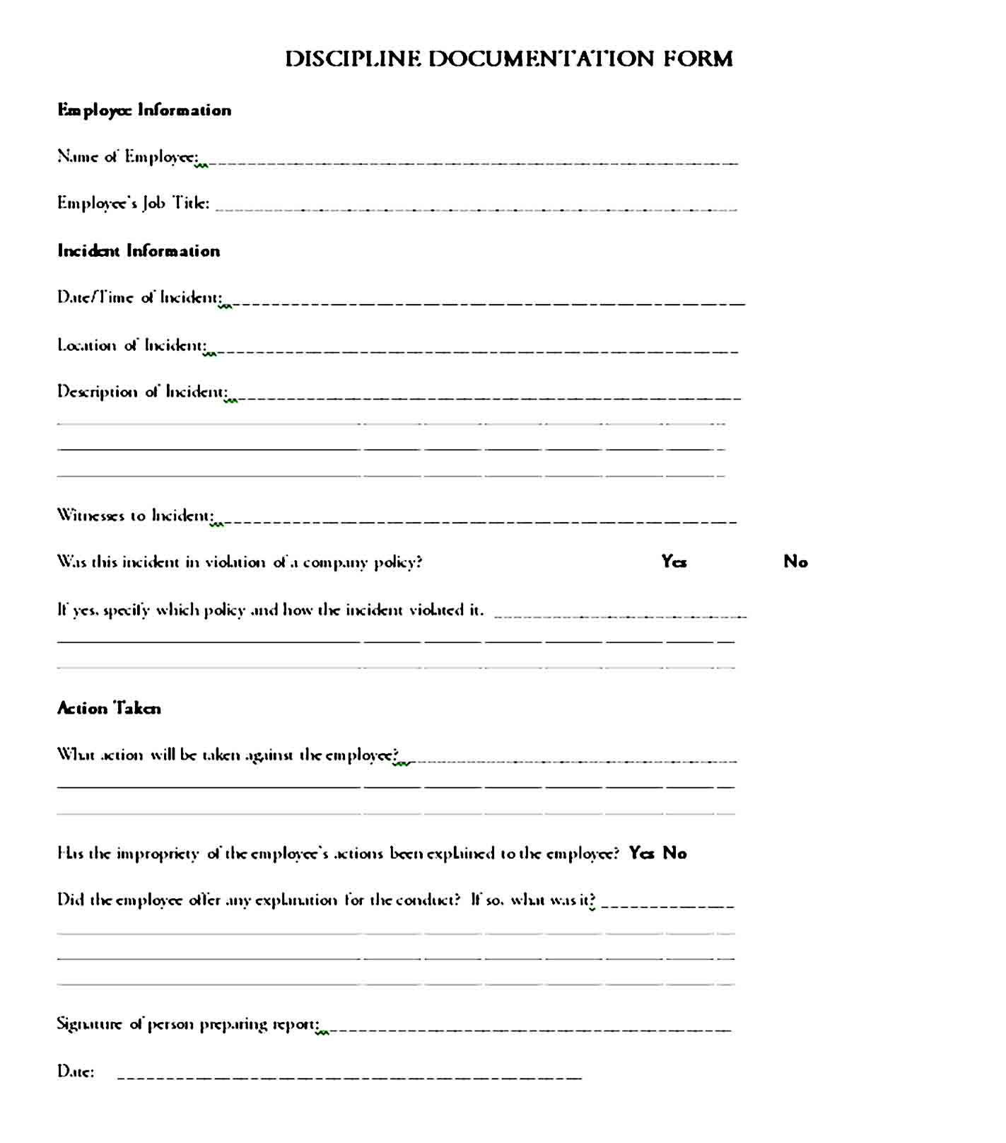 employee write up form 16