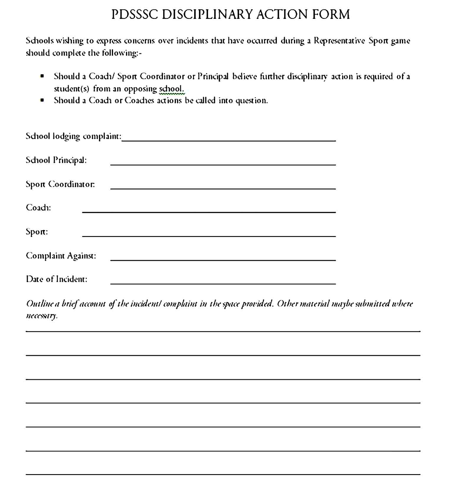 employee write up form 34