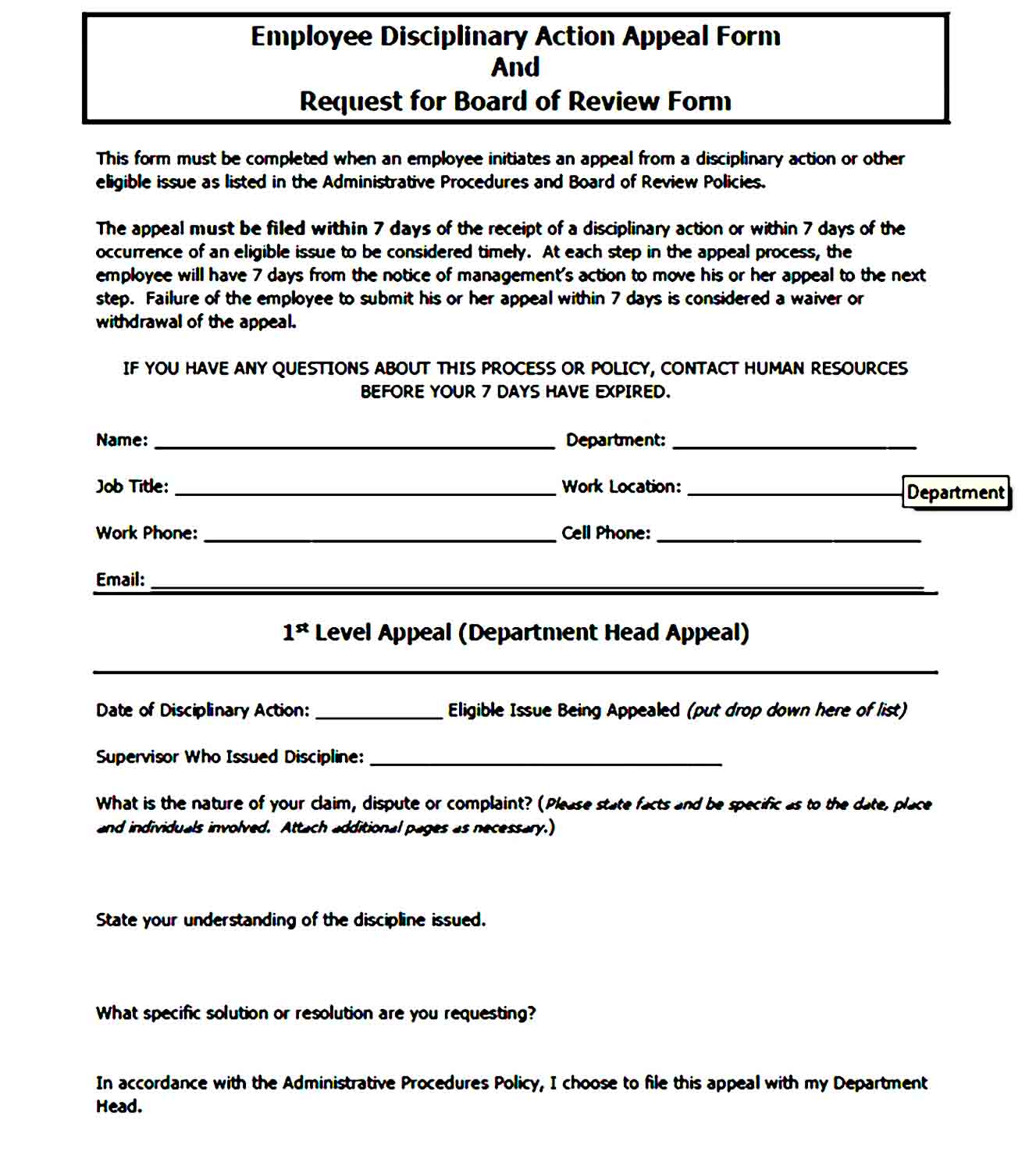 employee write up form 40