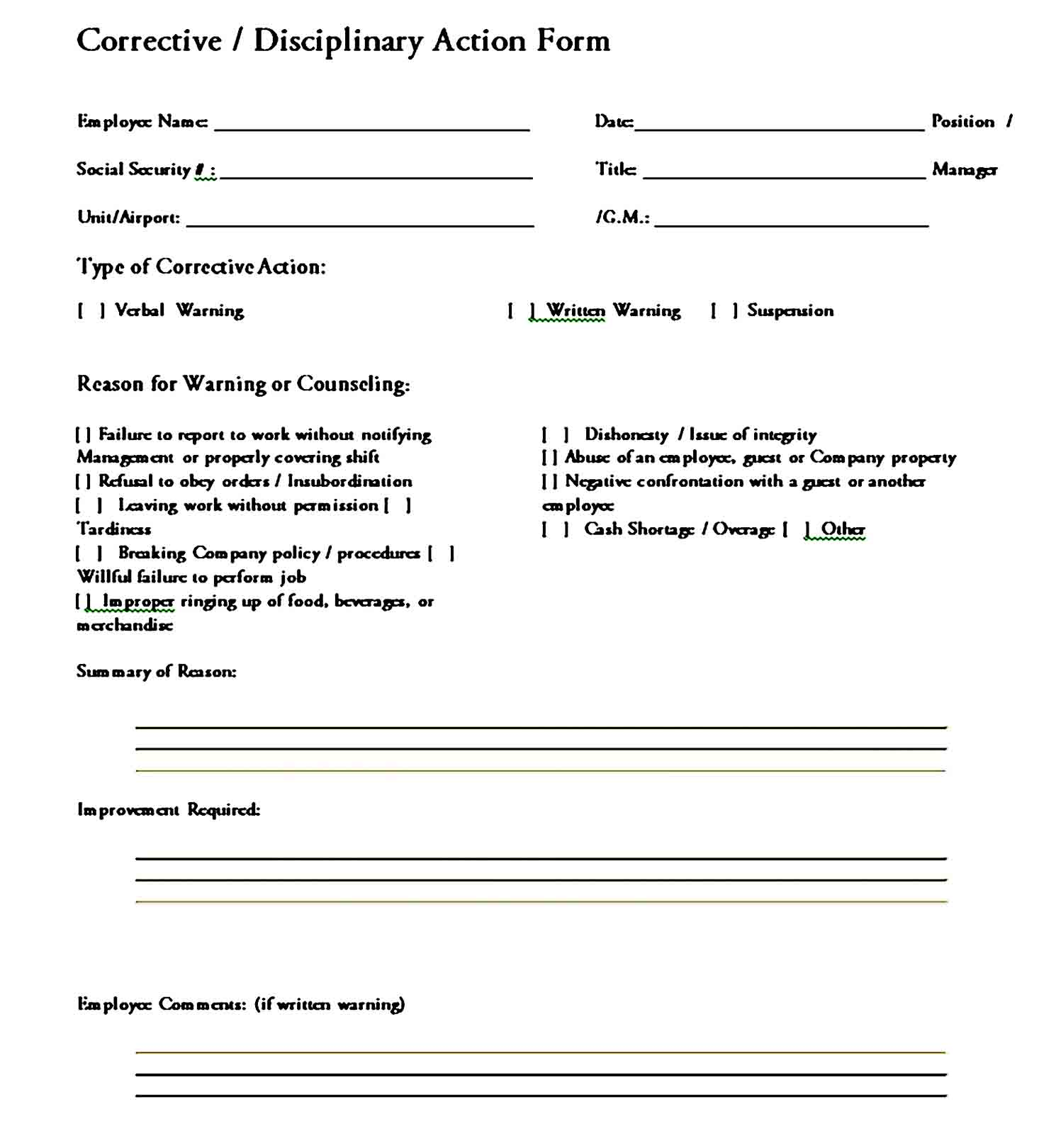 employee write up form 43
