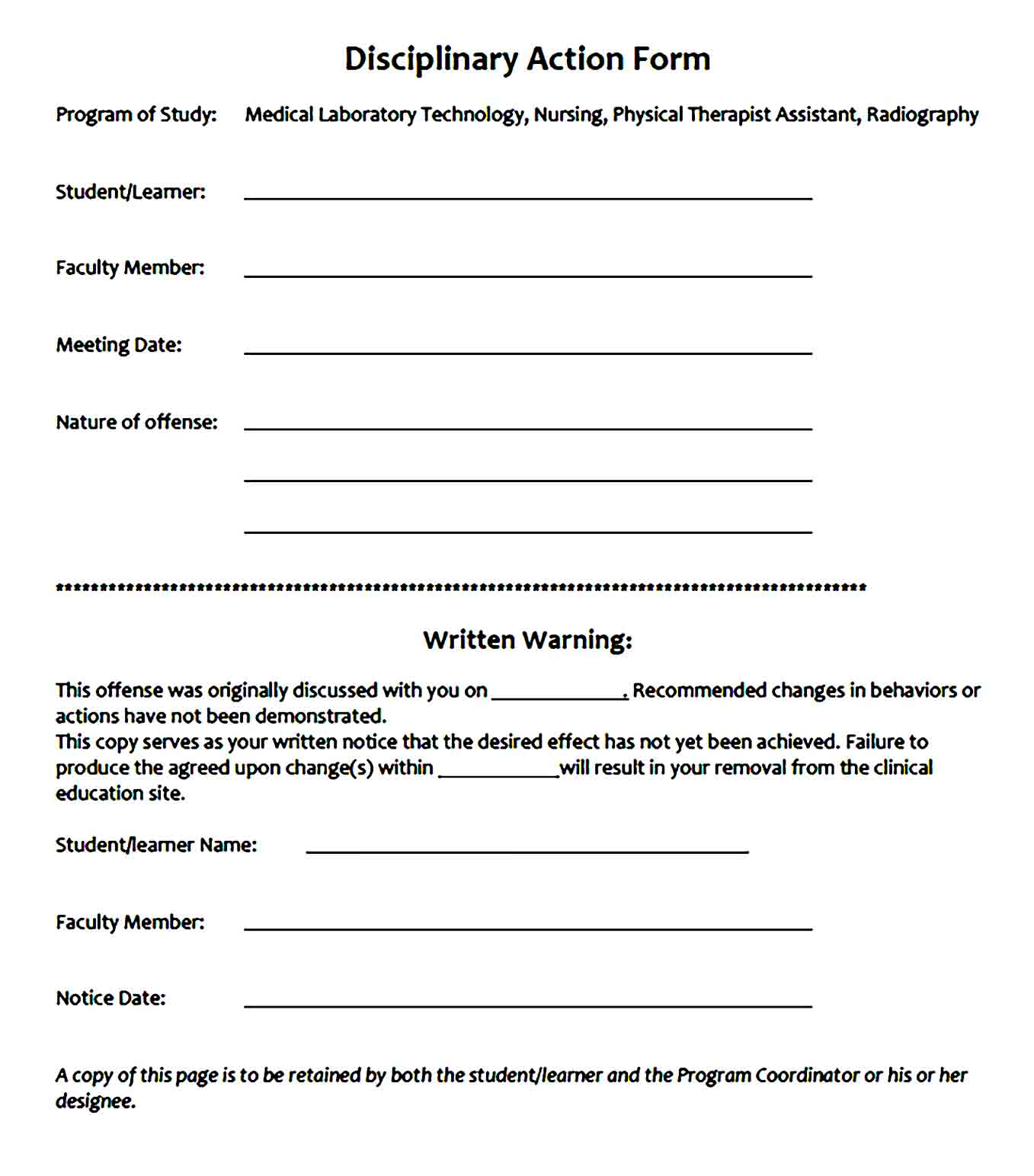 employee write up form 44