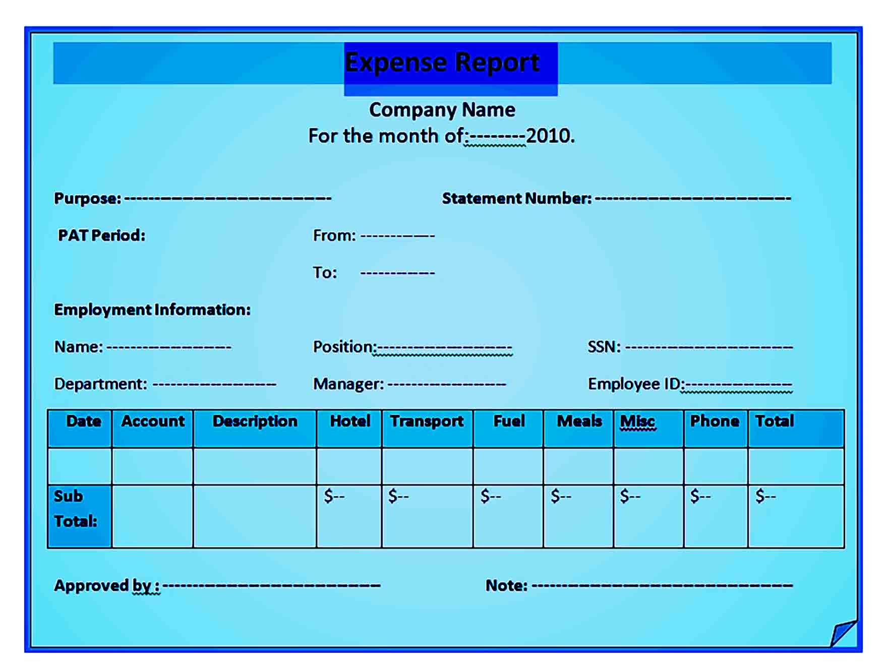 expense report template 36