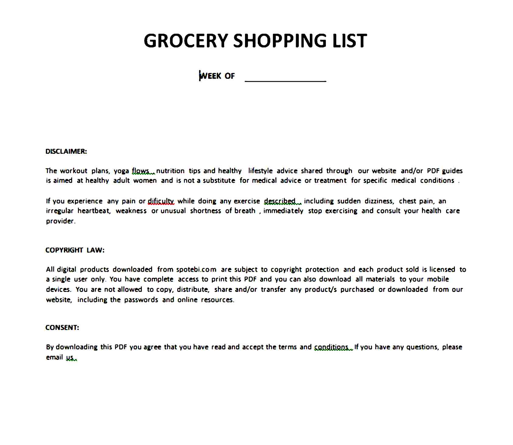 grocery list template 19