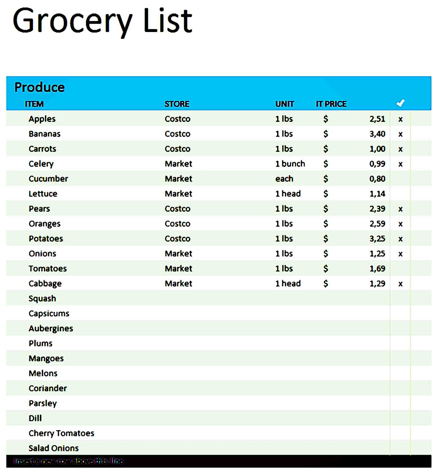 grocery list template 23