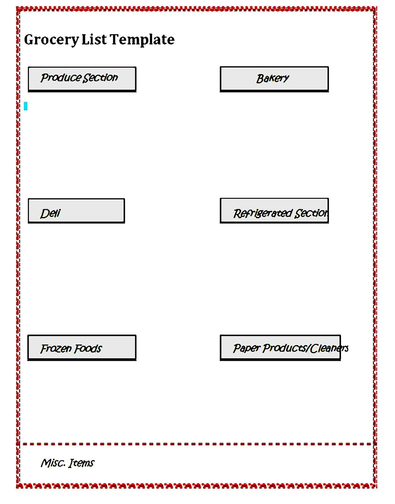 grocery list template 34