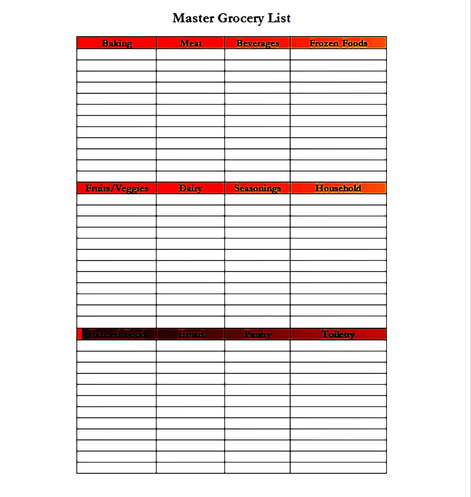 grocery list template 35