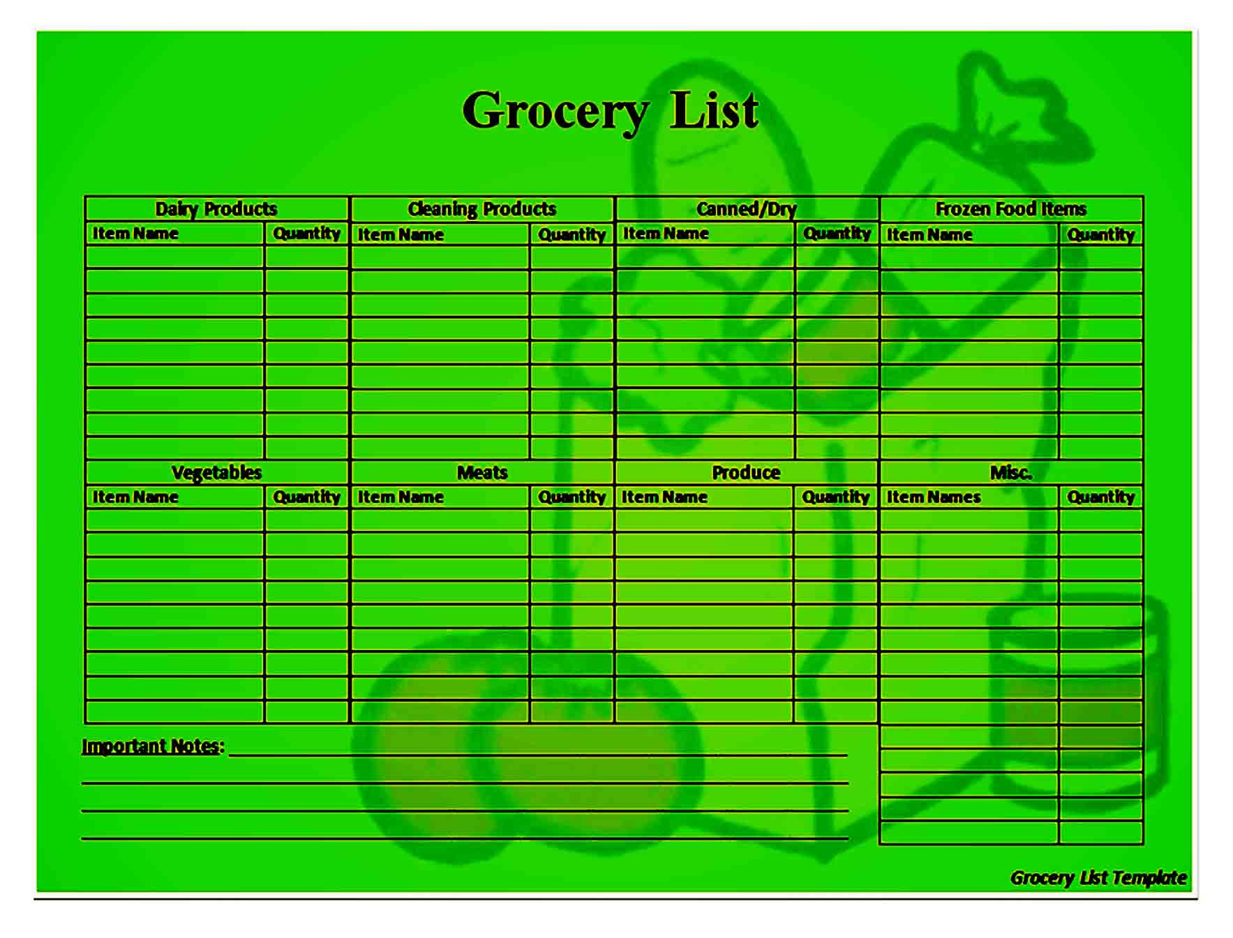 grocery list template 36