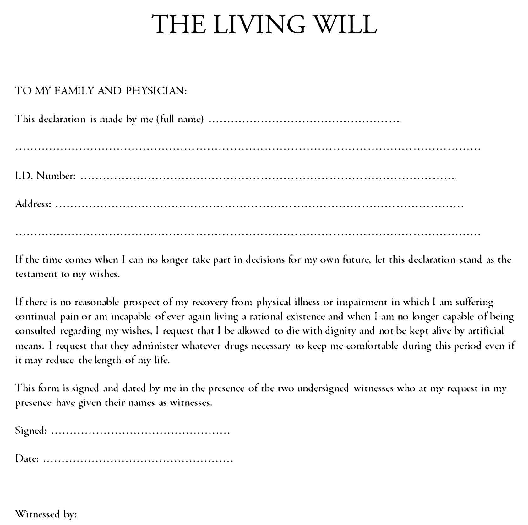 living will template 12