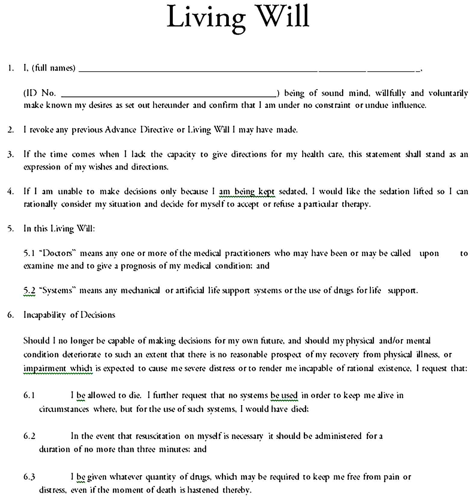 living will template 14