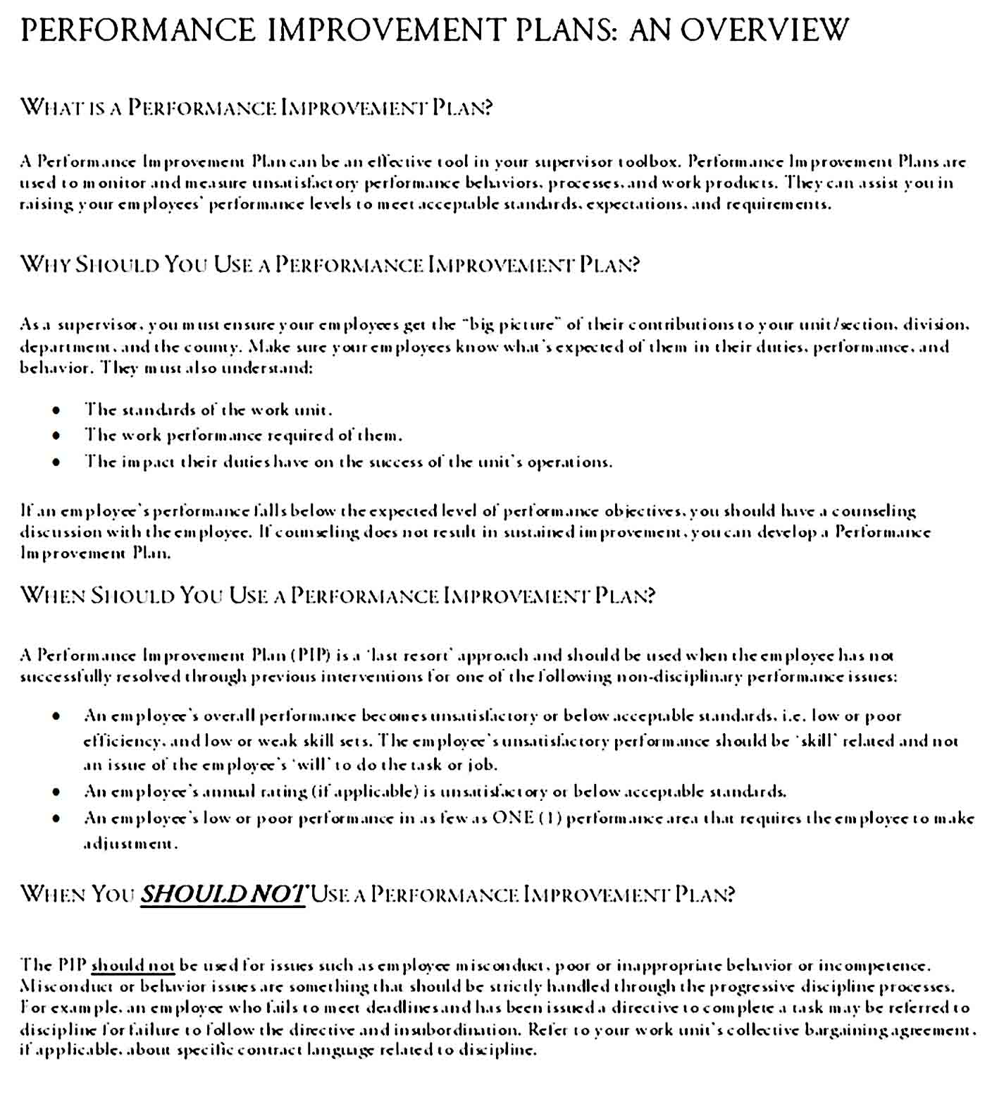 performance improvement plan template 15