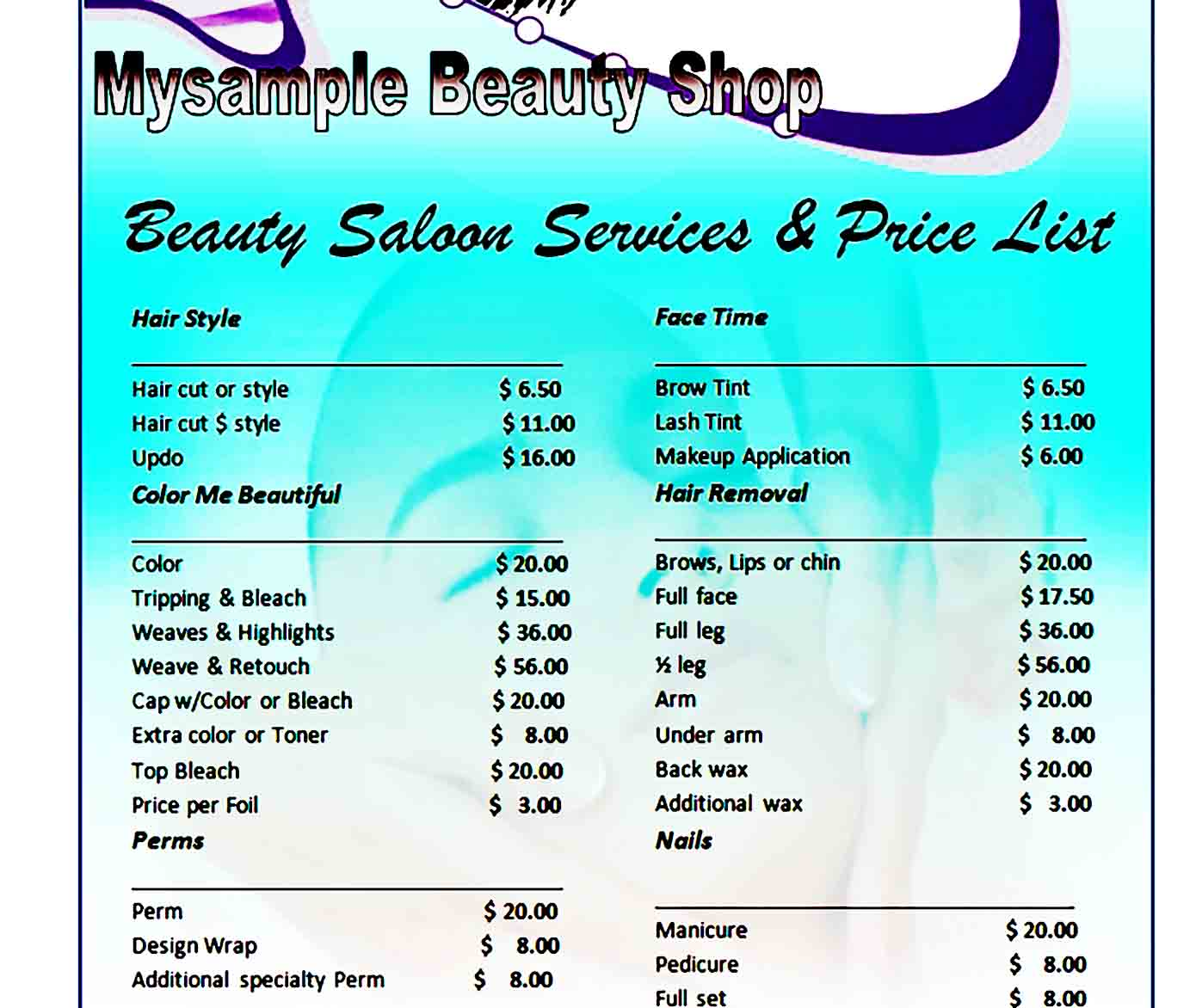price list template 24