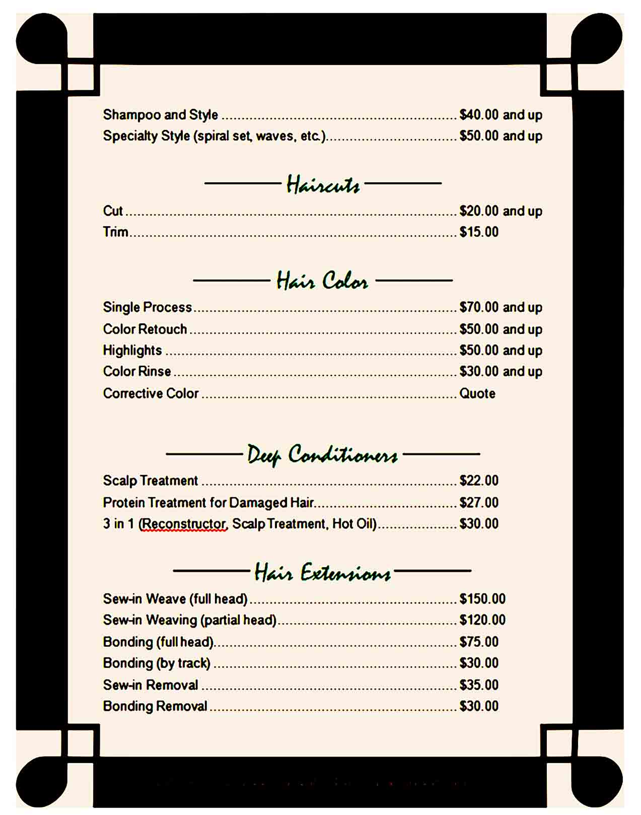 price list template 39