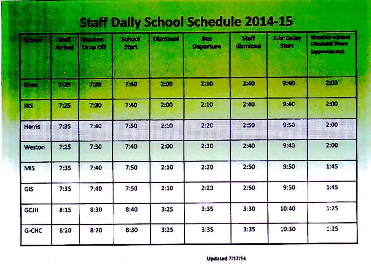 staff daily schedule templates